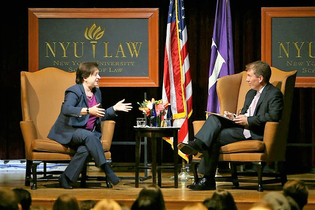 Elena Kagan (l.), associate justice of the United States Supreme Court, talking with Trevor Morrison, dean of New York University School of Law. | Credit: Twitter.com/nyulaw